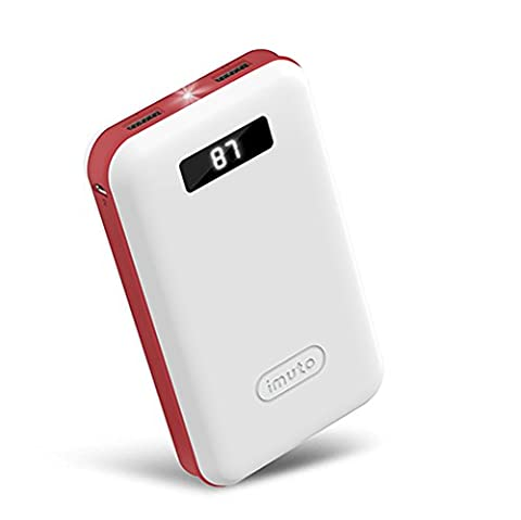 iMuto 20000mAh Compact Batterie Externe Power Bank Chargeur Portable avec un Écran LED Intelligent Numérique et Chargement Rapide, Batterie de Secours pour iPhone X 10 8 7 6 6S Plus 6+ 5S 4S, iPad Air 2 mini 3 Pro, Nintendo Switch, Samsung Note 8 Note 5 S8 S8+ S7, Smart Phones et Tablettes (Blanche)