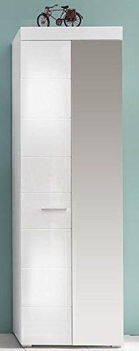 Dreams4Home Garderobenschrank 'Ejura IV',Garderobe, Schrank, Standschrank,Hochschrank,Diele/Flur (B/H/T) ca. 62 x 195 x 38 cm,weiß Hochglanz