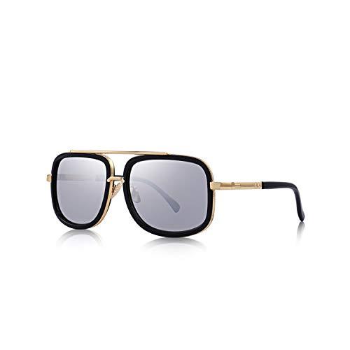 Sport-Sonnenbrillen, Vintage Sonnenbrillen, Fashion Men Sunglasses Classic Women Metal Square Sun Glasses UV400 Protection S'662 C03 Silver