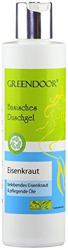 Echte 4,5 Sterne, Greendoor Basisches Duschgel Eisenkraut 250ml, biologisch abbaubar Natur für die Haut, Naturkosmetik ohne Sulfate, ohne Silikon, ohne Konservierungsmittel, outdoor geeignet, natural
