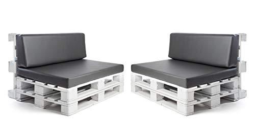 Conjunto colchonetas para sofas de palet y respaldos (2 x Unidades) Cojin relleno con espuma. Color Ceniza | Cojines para chill out, interior y exterior, jardin | No incluye palet