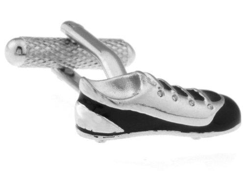 Ê Uomo Nero & Silver Scarpe Calcio novitˆ Gemelli con Alfred & Co. Jewellery Box