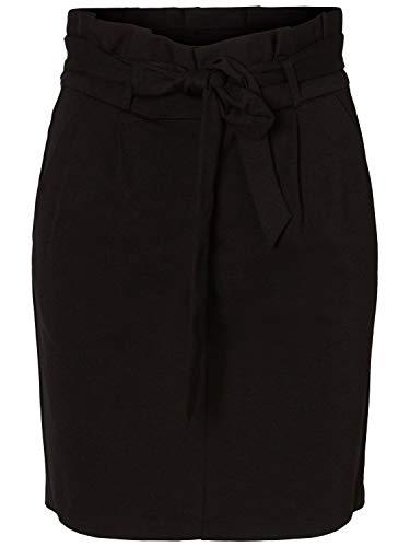 Vero Moda NOS Damen VMEVA HR Paperbag Short Skirt NOOS KI Rock Schwarz Black, 38 (Herstellergröße: M)