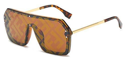 DAIYSNAFDN Sonnenbrillen Damen Large Frame Luxury Design Sonnenbrillen Herren Uv400 Bright Leopard