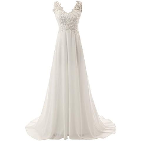 JAEDEN V-cuello de los vestidos de boda de la gasa de encaje de novia elegante vestido de novia vestir de