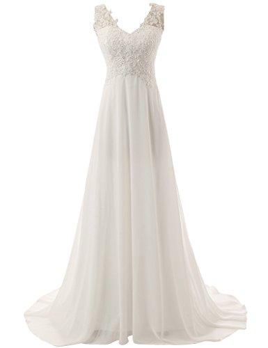 JAEDEN Elegante V-Ausschnitt Spitze Chiffon Hochzeitskleider Brautkleid Brautmode Lang Elfenbein EUR36