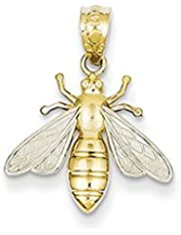 Black Bow Jewellery Company : 14k Yellow Gold and White Rhodium Two Tone Bee Pendant