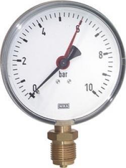 Manometer für Wasser 1/4'' 0-10 bar Abgang senkrecht - Druck-ventil Kessel