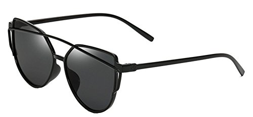 Da.Wa Sonnebrille Metall Sonnen Brille Persönlichkeit Hipster Brille,Schwarz