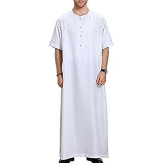 Bmeigo Herren Robe Islamic Muslim Kurzarm Arabic Kaftan Thobe Thawb
