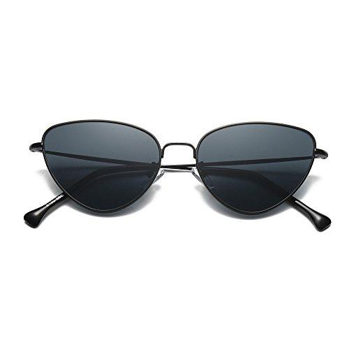 Skang Damen Triangle Sonnenbrille Retro Katzenauge Metall Rahmen UV-Schutz Sunglasses Eyewear Süßigkeit-farbige Gläser(Einheitsgröße,Schwarz)