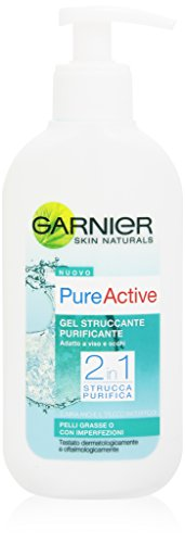 Garnier Pure Active Gel Struccante Purificante 2in1 per Pelli Grasse o con Imperfezioni, 200 ml