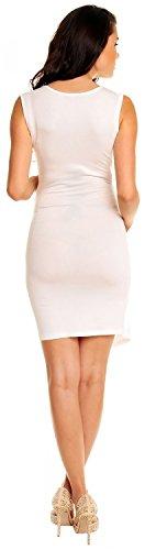 Zeta Ville - maternité - robe jersey de grossesse - robe plissé - femme - 045c Blanc Cassé