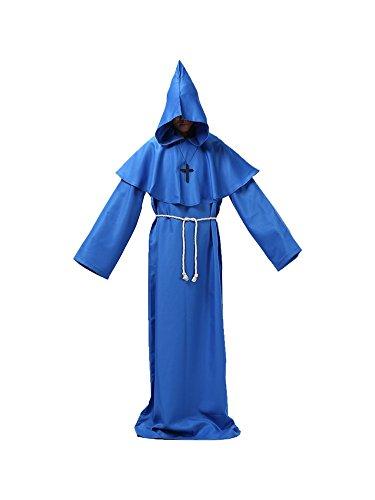 Honeystore Unisex Halloween Hexenmeister Kostüme Kaplan Cosplay Christ Allerheiligen Kleider Blau L (Teletubbies Kostüm Ideen)