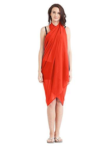 SOURBH Women's Sarong Faux Georgette Beach Wear Wrap Swimsuit Cover up Plain...