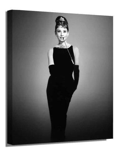 POP ART/ICONS Kunstdruck auf Leinwand, Motiv Audrey Hepburn, Schwarz/Weiß