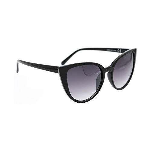 Isurf eyewear occhiali da sole marca modello canary wharf forma a gatta farfalla 2017 fashion outfit moda (montatura nera lente nera sfumata)