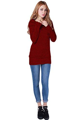 60571facf8c947 Aidonger Damen Strickpullover Asymmetrisch Pulli Lang Schulterfrei  Langarmshirt Rot