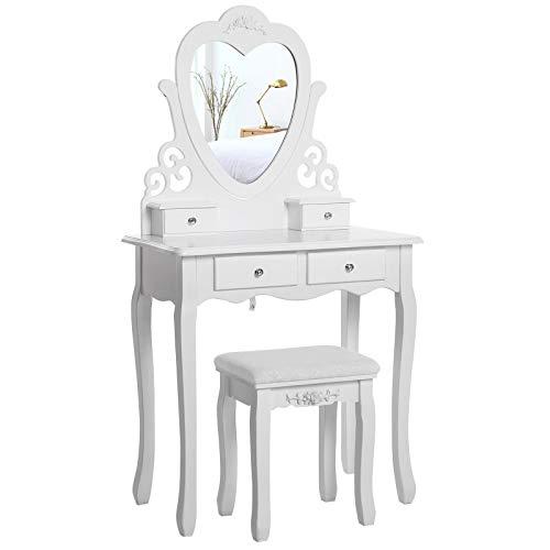 Preisvergleich Produktbild Generic Set mit Hocker,  Make-up,  Schreibtisch,  Hocker,  Schminktisch,  Spiegel,  Weiß