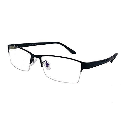 XYAS Rechteck Herren Metall Lesebrille klare linse Brillenfassungen (Halbrahmen 3, 1603 Black)
