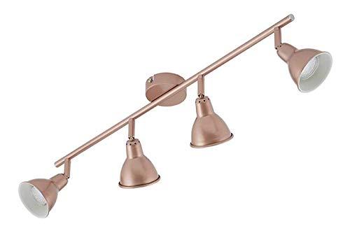 Briloner Leuchten LED Deckenleuchte, 4 dreh- & schwenkbare LED-Spots, Vintage / Retro Strahler, Decken-Lampe, Kupfer, GU10, je 3 W, 67.4 x 8.5 x 11 cm