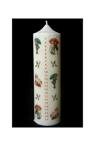 Candle making Stearin Kalenderkerze 200/60 mm Adventskerze Adventskalender Vintage I.-Kerze mit Zahlen 1-24 Weihnachtskerze Stearinkerze