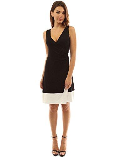 PattyBoutik femmes robe mi-longue bicouleur col V sans manches noir et ivoire