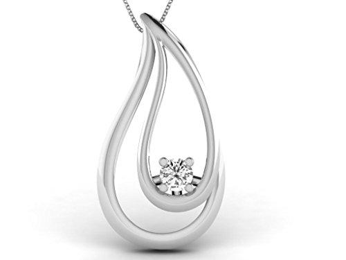 Or Blanc 9 ct Pendentifs Diamant en forme de poire, 0.03 Ct Diamant, GH-SI, 0.44 grammes.