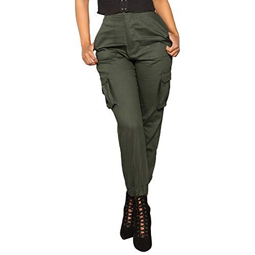 Zarupeng Damen Schlanke Cargo-Hose Einfarbig Haremhosen Hose Casual Sport Elastische Taille Hosen Overalls mit Mehreren Taschen