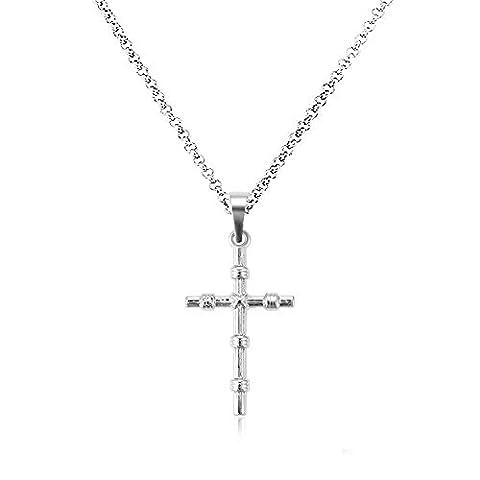 Akki Damen Kreuz Halskette filigraner schmuck Set Silber kette mit Anhänger blume mit Swarovski Kristall für Frauen Geschenke Liebe Familien kette AKCH010