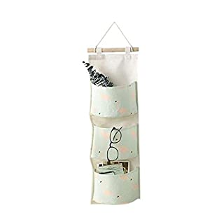 Addfun®Cotton Fabric Linen Cloth Hanging Bag,Wall Mounted Three Layers Storage Bag with Three Pockets(Green)