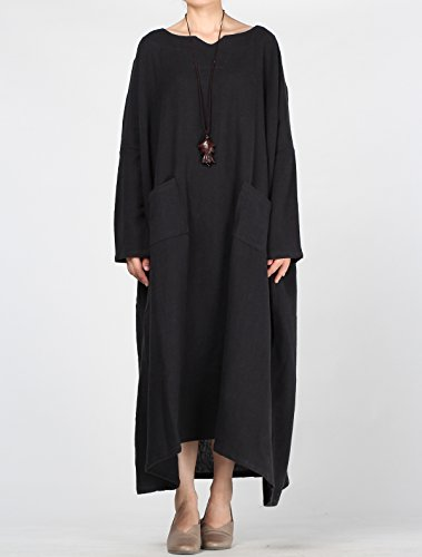 Vogstyle Damen Plus Größe Baumwollleinenroben Kleid Schwarz-1