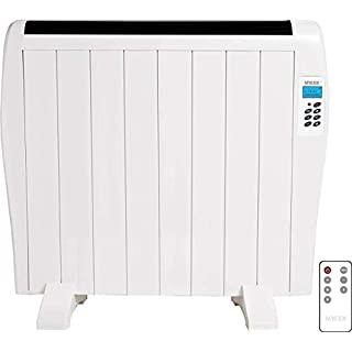 MYLEK Premium Aluminium Electric Panel Heater with Timer, Thermostat & Remote Control 1.2kW - Wall Mounted/Freestanding Slim White Panel Heater