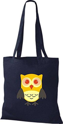 ShirtInStyle Jute Stoffbeutel Bunte Eule niedliche Tragetasche mit Punkte Owl Retro diverse Farbe, schwarz blau