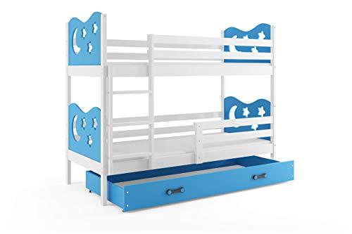 Letto a castello miko per bambini con ampio cassettone, azzurro, cameretta per ragazzi, materassi in spugna gratis! (160 * 80)