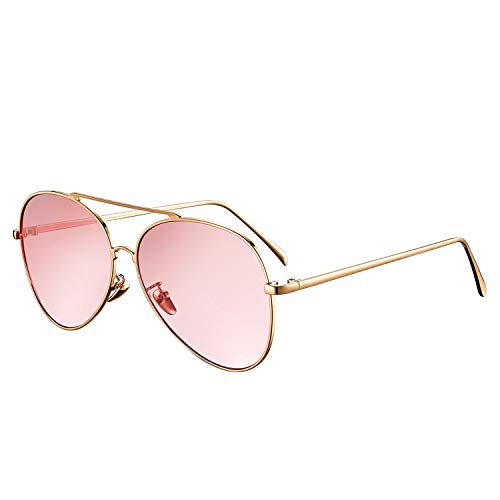 rezi Pilotenbrille Sonnenbrille, Polarisierte Sonnenbrillen für Damen & Herren, PC-Objektive und Unzerbrechliche Edelstahlrahmen mit Verstellbaren Nasenpads, UV400.