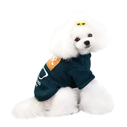 Smniao Hundebekleidung für Kleine Hunde Sweater Mantel Herbst Winter Haustier Brille Hut Pullover für Welpen Chihuahua (L, Grün)