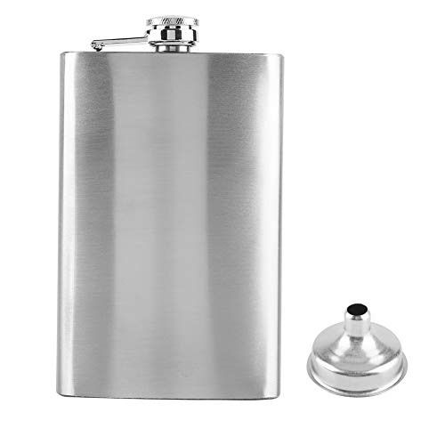 Flachmann Edelstahl Portable Alkohol Lagerung Flasche mit Trichter für Männer 7/8/10 Unze Silber Metall Wein Flagon(10oz) -