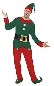 """Smiffys-31993L Disfraz de Elfo, con Chaqueta, pantalón, Gorro y cinturón, Color Rojo y Verde, L-Tamaño 42""""-44"""" (Smiffy"""