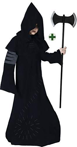 Karneval-Klamotten Warlock Kostüm Junge Halloween Horror Zauberer Magier Hexenmeister Gruseliges INKL. Doppelaxt Kinderkostüm 128 (Jungen Kostüme Horror Für)
