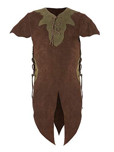 Erwachsene Elf Kostüm Für Krieger - Andracor - hochwertige Kinder-Lederrüstung für Elfen, Hobbits, Knappen, und weitere kleine Geschöpfe - Braun - Größe L - individuell einsetzbar für LARP, Cosplay, Mittelalter, Fantasy