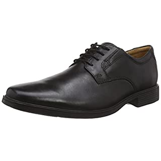 Clarks Tilden Plain, Herren Derby Schnürhalbschuhe, Schwarz (Black Leather), 43 EU (9 Herren UK)