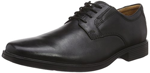 Clarks Tilden Plain, Zapatos de Cordones Derby para Hombre, Negro (Black Leather), 43 EU