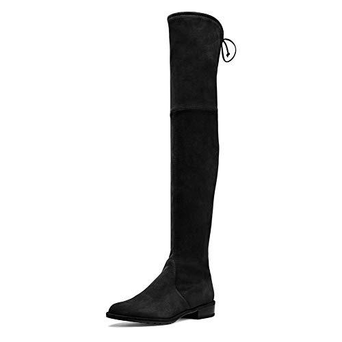 Lutalica Damenmode Wildleder Lässige Flache Ferse Stretchy Spitze über dem Knie Oberschenkel hohe Stiefel Schwarz Größe 40 EU - Über Knie Hoch, Spitze