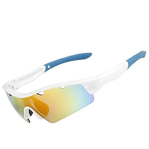 YX Glasses Herren Sonnenbrille Polarized Classic Retro Sonnenbrille Herren UV400 Schutzmontagespiegel Winddicht Sportspiegel Reiten White Blue