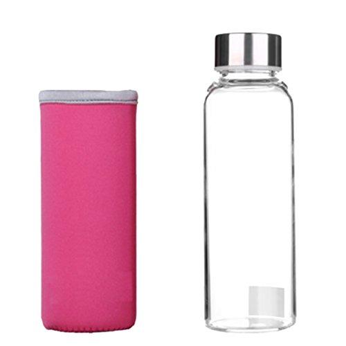 Fenteer Glasflasche / Trinkflasche aus Glas - Trinkflasche Glas mit Silikonhülle für unterwegs, Smoothies, Wasser, Fitness, Yoga & Sport - Rosa, 360ml