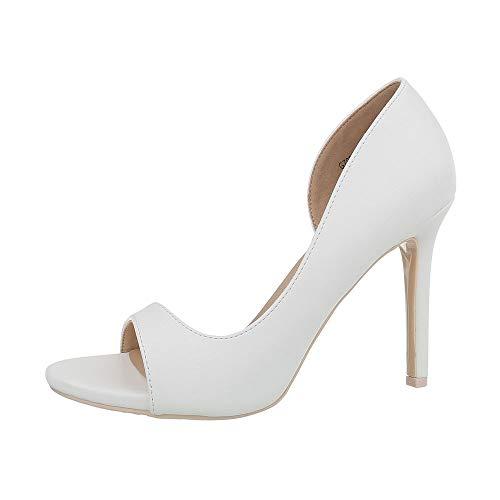 Ital-Design Damenschuhe Pumps High Heel Pumps Synthetik Weiß Gr. 38 -