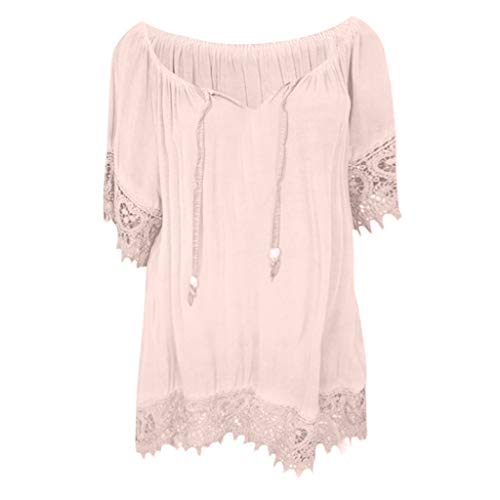 Spitzenbluse Hemd Damen Bluse Shirt Tops für Frauen O-Neck Solid Color Patchwork Spitze Design Kurzarm(Rosa,XXL)