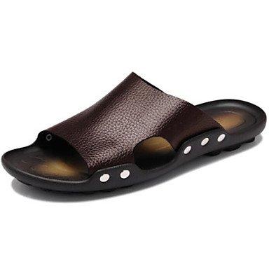 SHOES-XJIH&Hommes sandales Semelles Lumière Confort confort décontracté été PU Semelle légère au chocolat noir télévision,Black,US8.5-9 / EU41 / UK7.5-8 / CN42