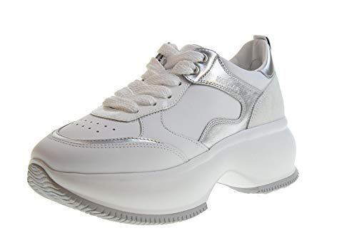 Hogan Scarpe Donna Sneakers Basse con Platform HXW4350BN50KJN0351 Maxi Taglia 37.5 Bianco-Argento
